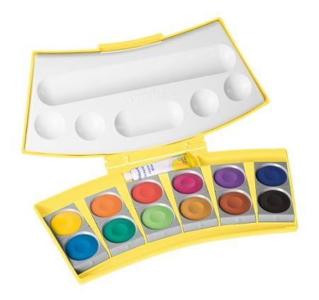 Vodové barvy ProColor 12barev, v žlutorůžové krabičce (Herlitz)