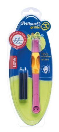 Inkoustový roller pro praváky Griffix 3-růžový/ na blistru (Herlitz)