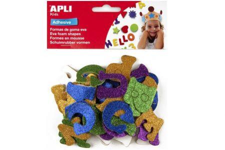 Pěnová guma Eva sheets písmena se třpytkami samolepící různé barvy APLI