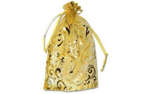Dárkový sáček organza 9x12cm zlatý s potiskem (pytlík z organzy - s potiskem zlatá)