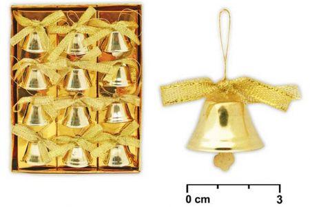 Zvonečky zlaté 12ks 2,5cm (MFP)