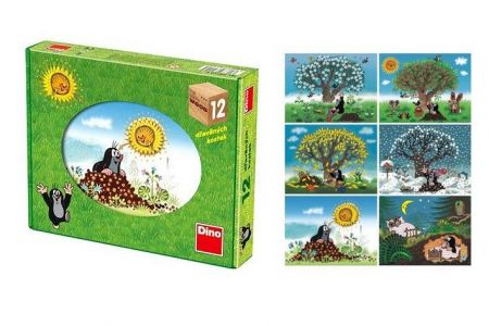 DINO-Dětské dřevěné kostky-Krtkův rok(Krtečkův rok) 12ks (Kubus 12ks-kostek)
