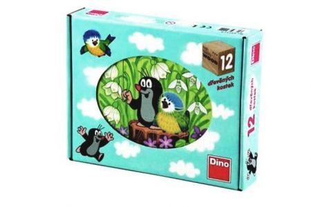 DINO Dětské dřevěné kostky-Krtek a ptáček(Krteček a ptáček) 12ks (Kubus 12ks-kostek)