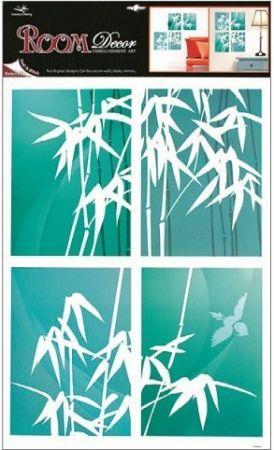 Samolepky na zeď bambus, zelenomodré 4 obdelníky, 60x42cm