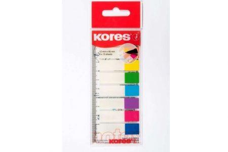 KORES Popisovací záložky Index Strips na pravítku 45x12 mm / 8 barev / 15 lístků á barva