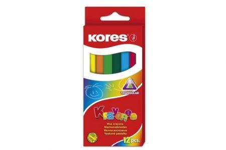 KORES KRAYONES - voskové pastelky trojhranné, 12 barev