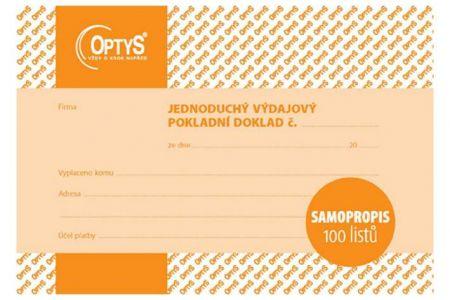 Výdajový doklad A6, jednoduchý, samopropisovací, 100 listů OPTYS
