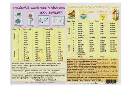 KOH-I-NOOR Tabulka A4 Skloňování podstatných jmen rodu ženského a středního