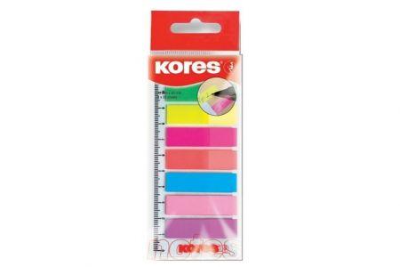 KORES Neonové záložky Index Strips na pravítku 45x12 mm / 8 barev / 25 lístků á barva