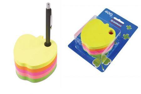 Samolepící bloček ve tvaru jablka 5x80lístků DONAU mix barev
