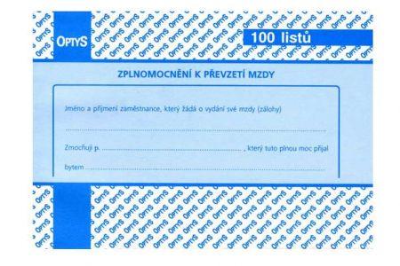 Plná moc k převzetí mzdy 100 listů A6 OPTYS