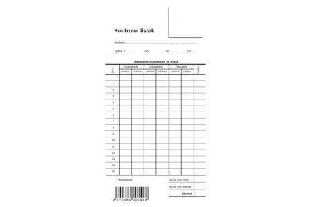 Kontrolní lístek jednoduchý-dvoustranný, píchačka OPTYS (9 x 19 cm na výšku)