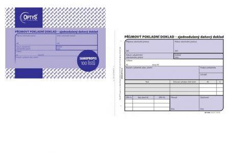 Příjmový pokladní doklad A6 zjednodušený 100 listů samopropisovací OPTYS