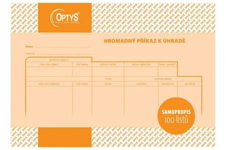 Hromadný příkaz k úhradě A5 OPTYS (100 listů na šířku SAMOPROPISOVACÍ)