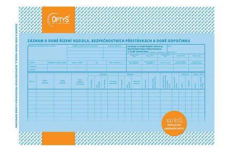 Záznam o době řízení vozidla a bezpečnostních přestávkách a době odpočinku A4 OPTYS