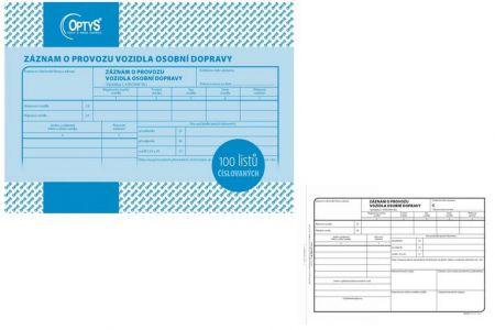 Záznam o provozu vozidla osobní dopravy 100 listů číslovaný OPTYS