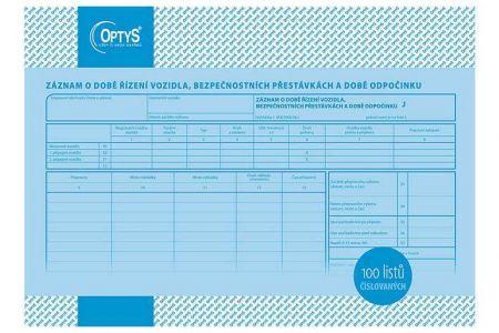 Záznam o době řízení vozidla a bezpeč. přestávkách A4, číslovaný, 100 listů OPTYS