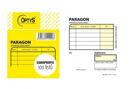 Obchodní paragon samopropisovací  7,5 x 9,5 cm OPTYS