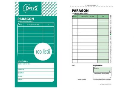 Obchodní paragon, 100 listů OPTYS