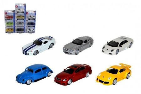 Auto Bburago 7-8cm 1:64 kov/plast mix druhů na kartě