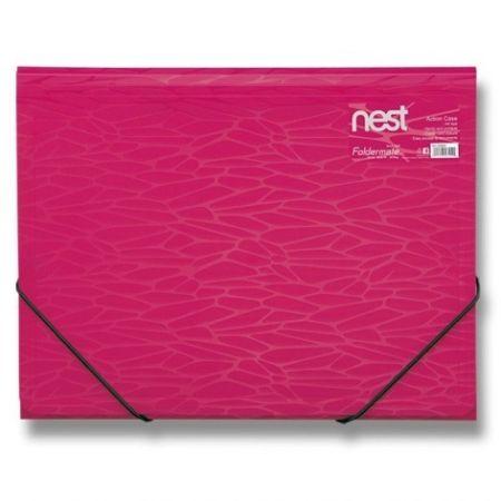 Tříchlopňové desky s gumou FolderMate Nest růžové