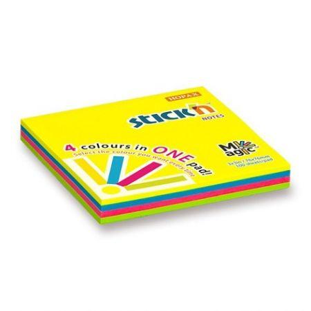 Samolepicí bloček Hopax Stick'n Notes Magic Pads 76 x 76 mm, 100 listů, neonový