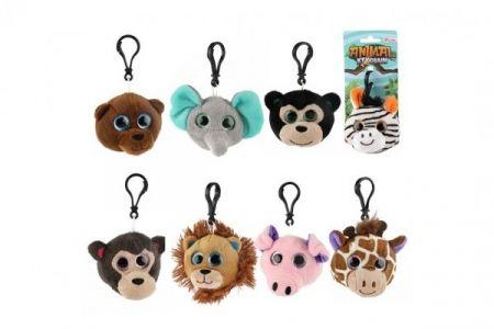 Přívěšek klíčenka na klíče plyš safari zoo 8cm 8 druhů na kartě 18m+
