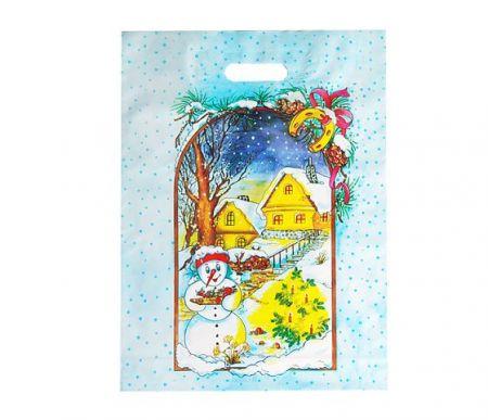 Taška igelitová vánoční 46,2 x 34,1cm - Zimní příroda