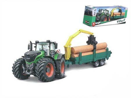 Bburago Fendt 1000 Vario traktor 10cm se dřevem na setrvačník v krabičce
