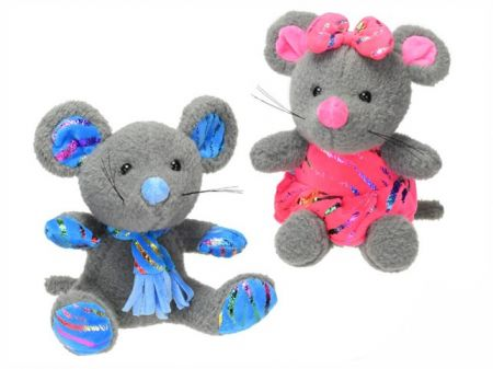 Myš plyšová 29cm v šatech s mašlí 2barvy