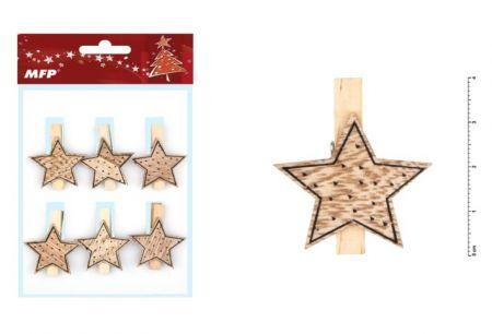 Kolíček dřevěný hvězdička 6ks 4cm ZC171179