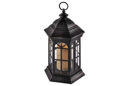 Vánoční osvětlení - LED dekorace – lucerna černá, 3×AAA, blikající světlo, čas.