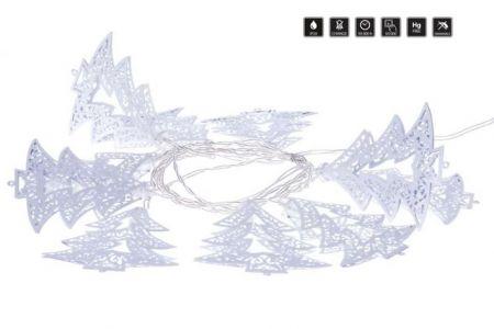 Vánoční osvětlení - LED girlanda – bílé stromečky, 3×AA, teplá bílá, časovač