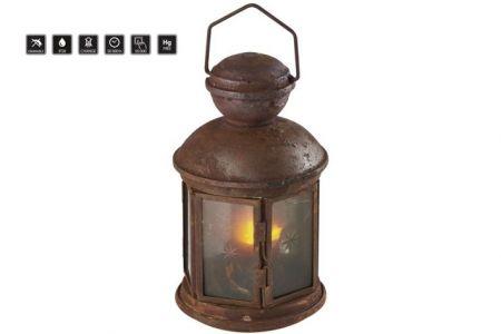 Vánoční osvětlení - LED lucerna vintage, 3×AA, teplá bílá, časovač