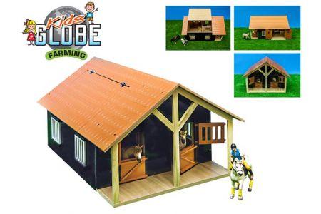Stáj pro koně s dílnou dřevěná 51x40,5x27,5cm v krabičce (KIDS GLOBE)