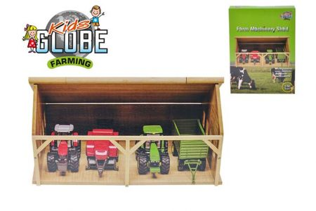Garáž dřevěná pro traktory 1:50 v krabičce (KIDS GLOBE)