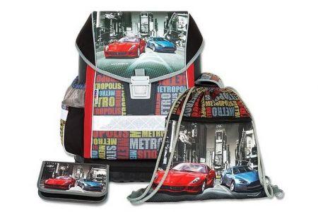 EMIPO Školní aktovkový set ERGO ONE Metropolis 3-dílný (školní batohový set auto-auta)