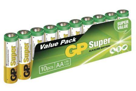 -Baterie AA tužková 1,5V 10 kusů GP Super ve fólii (GP LR6) Alkalická baterie