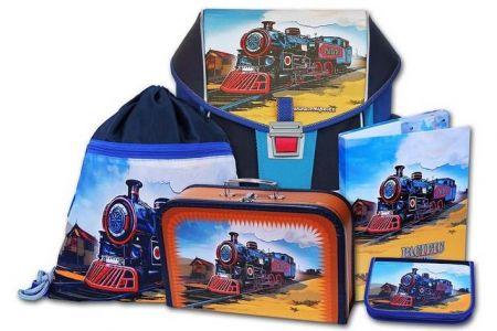 EMIPO Školní aktovkový set ERGO ONE Pacific 5-dílný (školní batohový set vlak-lokomotiva)