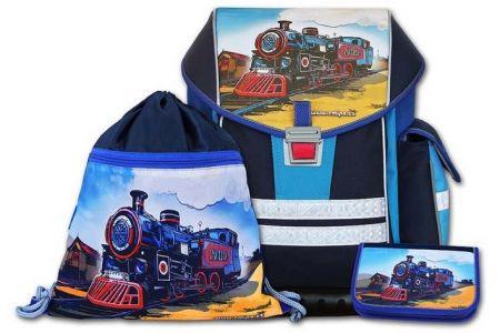 EMIPO Školní aktovkový set ERGO ONE Pacific 3-dílný (školní batohový set vlak-lokomotiva)