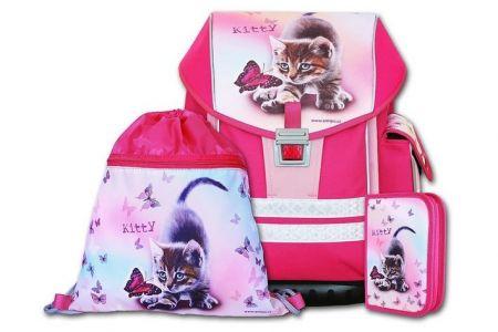 EMIPO Školní aktovkový set ERGO ONE KITTY 3-dílný (školní batohový set kotě kočka)