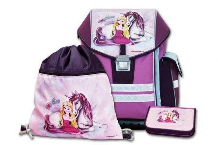 EMIPO Školní aktovkový set ERGO ONE PEGAS 3-dílný (školní batohový set dívka a jednorožec)