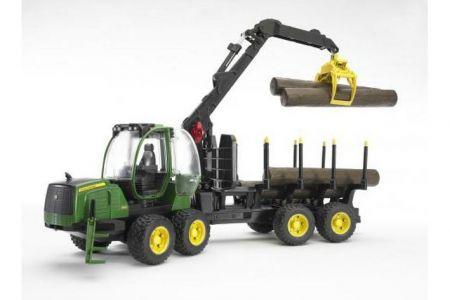 BRUDER 02133 (2133)- John Deere 1210E lesnický traktor s přívěsem nakládacím ramenem