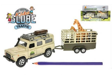 Land Rover Defender 14cm kov zpětný chod s přívěsem 14cm a žirafou v krabičce KIDS GLOBE