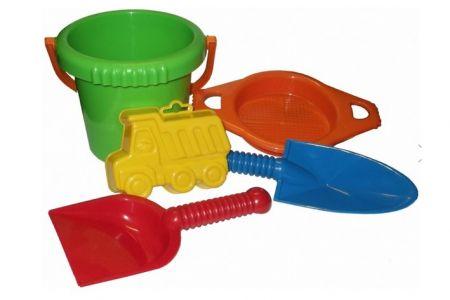 LORI 216 Sada na písek (rýč, lopatka, síto, kbelík, bábovka)