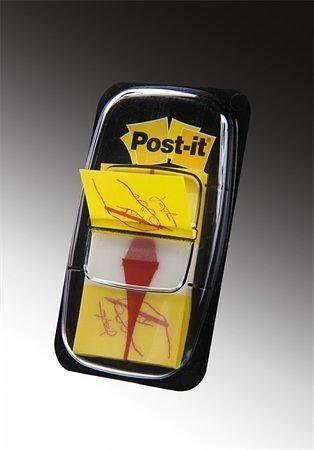 Záložky se zásobníkem, žlutá s grafikou, 25x43 mm, 50 listů, 3M POSTIT