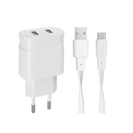 """Síťová nabíječka """"PS4123"""", bílá, 2 x USB, 3,4A, USB-C kabel, RIVACASE"""