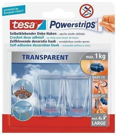 """Háčky s lepicím proužkem """"Powerstrips® 58813"""", průhledná, velké, TESA"""