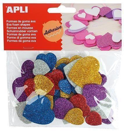 """Pěnová guma """"Eva sheets"""", srdíčka se třpytkami, samolepící, různé barvy, APLI"""
