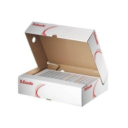 Horizontální archivační krabice, vrchní otvírání, bílá, 80 mm, A4, karton, ESSELTE